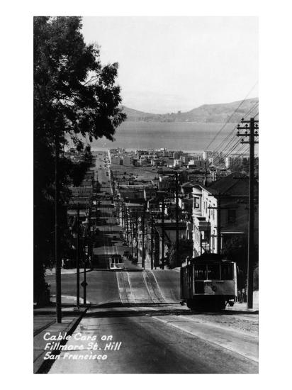 San Francisco, California - Cable Cars on Fillmore Street Hill-Lantern Press-Art Print