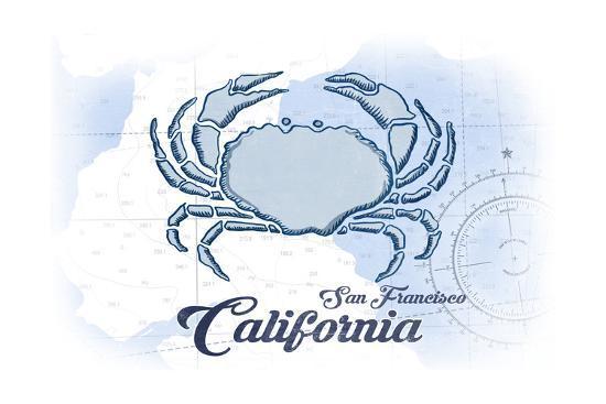 San Francisco, California - Crab - Blue - Coastal Icon-Lantern Press-Art Print