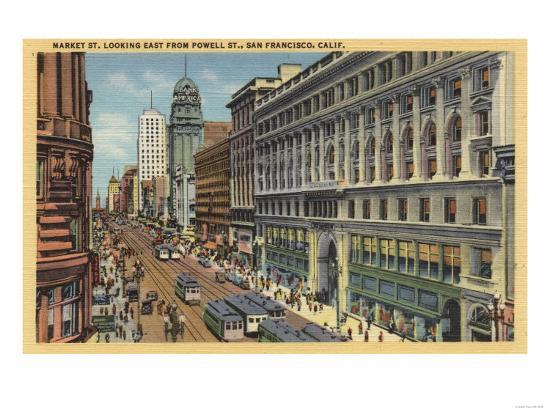 San Francisco, California - Eastern View of Market St from Powell St-Lantern Press-Art Print