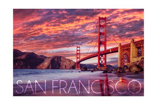 San Francisco, California - Golden Gate Bridge and Sunset-Lantern Press-Art Print