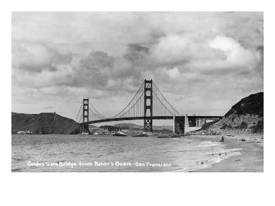 San Francisco, California - Golden Gate Bridge from Baker's Beach-Lantern Press-Art Print