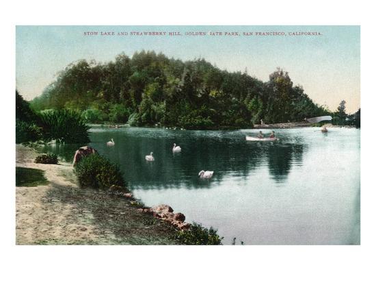 San Francisco, California - Golden Gate Park, Strawberry Hill and Stow Lake-Lantern Press-Art Print