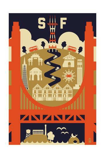 San Francisco, California - Icons of the City-Lantern Press-Art Print