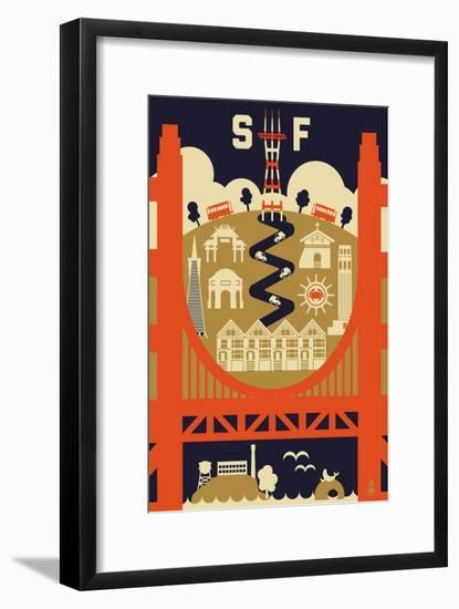 San Francisco, California - Icons of the City-Lantern Press-Framed Art Print