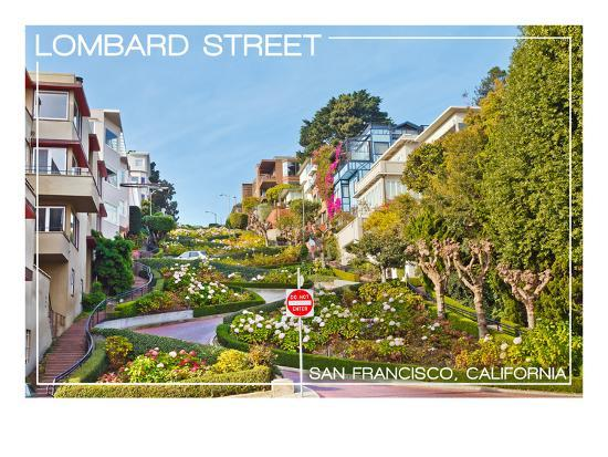 San Francisco, California - Lombard Street-Lantern Press-Art Print