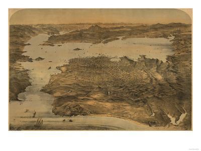 San Francisco, California - Panoramic Map No. 3-Lantern Press-Art Print
