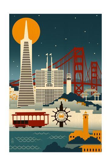 San Francisco, California - Retro Skyline (no text)-Lantern Press-Art Print
