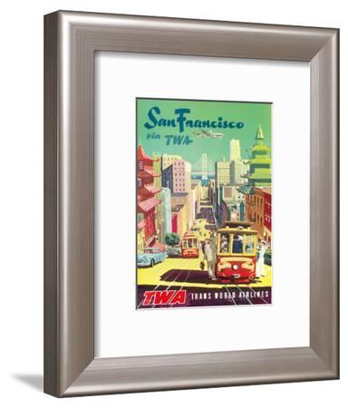 San Francisco California via TWA (Trans World Airlines) - Cable Cars-David Klein-Framed Art Print