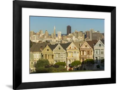 San Francisco, California, Victorian homes and city.-Bill Bachmann-Framed Premium Photographic Print