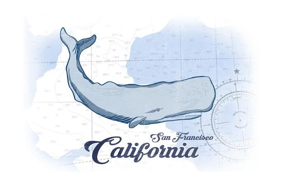 San Francisco, California - Whale - Blue - Coastal Icon-Lantern Press-Art Print