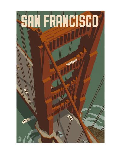San Francisco - Golden Gate Bridge-Lantern Press-Art Print