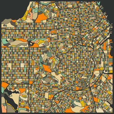 photograph relating to Printable Maps of San Francisco identified as San Francisco Map Artwork Print through Jazzberry Blue