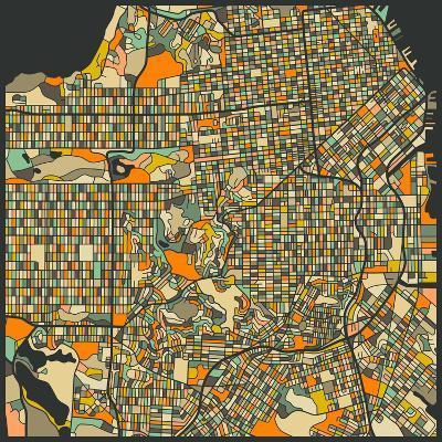 San Francisco Map-Jazzberry Blue-Art Print