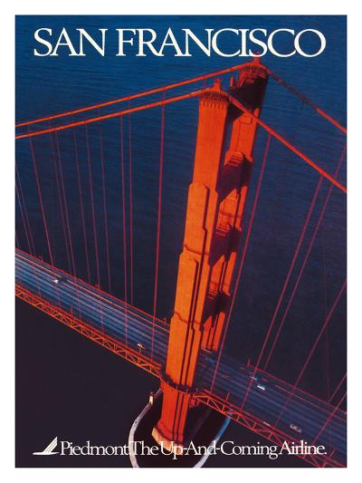 San Francisco - Piedmont Airlines - Golden Gate Bridge-Pacifica Island Art-Premium Giclee Print