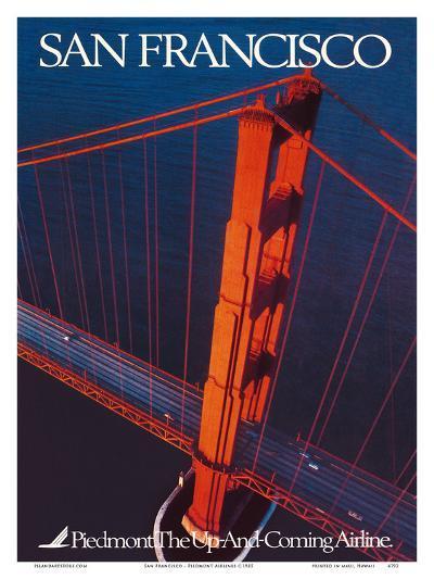 San Francisco - Piedmont Airlines - Golden Gate Bridge-Pacifica Island Art-Art Print