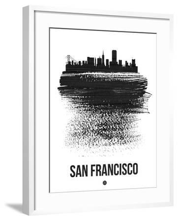 San Francisco Skyline Brush Stroke - Black-NaxArt-Framed Art Print