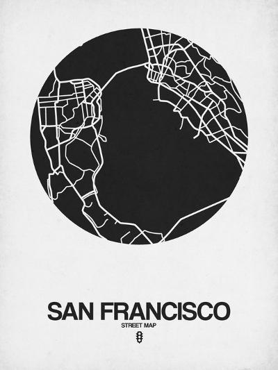 San Francisco Street Map Black on White-NaxArt-Art Print
