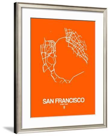 San Francisco Street Map Orange-NaxArt-Framed Art Print