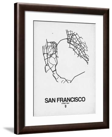San Francisco Street Map White-NaxArt-Framed Art Print