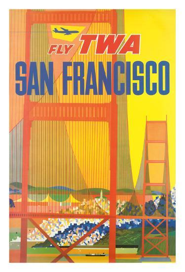 San Francisco - Trans World Airlines Fly TWA - Golden Gate Bridge--Giclee Print