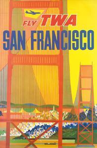San Francisco - Trans World Airlines Fly TWA - Golden Gate Bridge