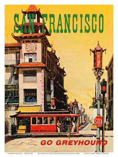 San Francisco, USA, Cathay House Restaurant, China Town, Go Greyhound-Nick Sciurba-Art Print