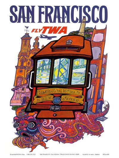 San Francisco, USA - Fly TWA (Trans World Airlines) - Presidio, California, Market Street Cable Car-David Klein-Art Print