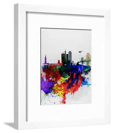 San Francisco Watercolor Skyline 1-NaxArt-Framed Art Print