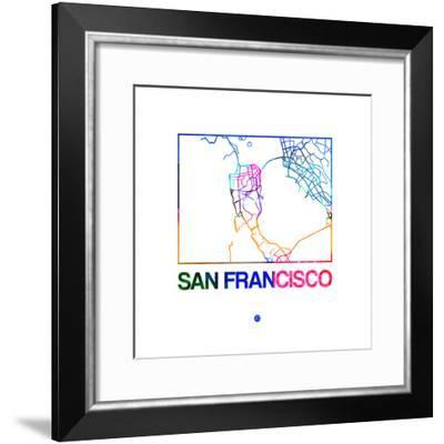 San Francisco Watercolor Street Map-NaxArt-Framed Premium Giclee Print