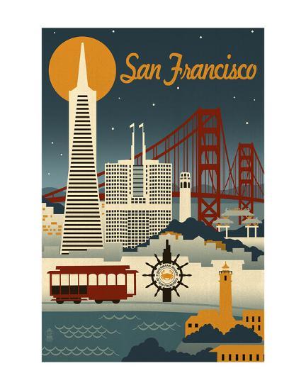 San Francisco-Lantern Press-Art Print