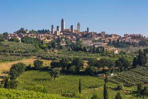 San Gimignano, Siena Province, Tuscany, Italy. Fields surrounding the medieval town famous for i...