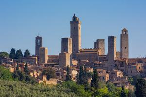San Gimignano, Siena Province, Tuscany, Italy. The famous towers of the medieval town. The histo...