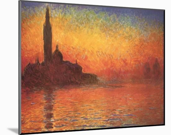 San Giorgio Maggiore by Twilight, c.1908-Claude Monet-Mounted Art Print