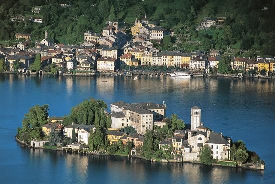 San Giulio Island Seen from Madonna Del Sasso, Lake Orta, Piedmont, Italy--Photographic Print