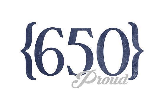 San Jose, California - 650 Area Code (Blue)-Lantern Press-Art Print
