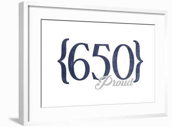 San Jose, California - 650 Area Code (Blue)-Lantern Press-Framed Art Print
