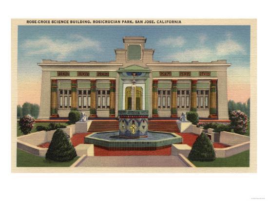 San Jose, California - Rosicrucian Park, Rose-Croix Sciene Bldg-Lantern Press-Art Print