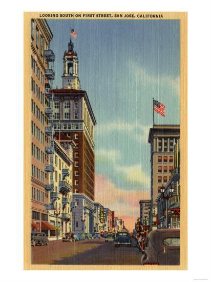 San Jose, California - Southern View of First Street-Lantern Press-Art Print
