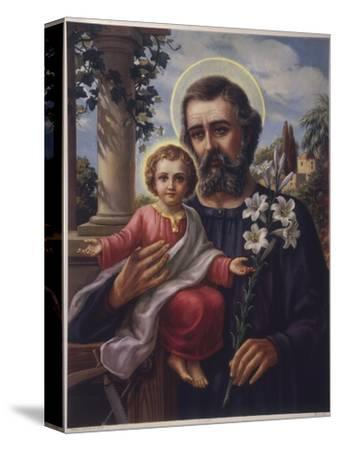 San Jose (Saint Joseph) Holds His Son in One Hand a Lily Stem in the Other