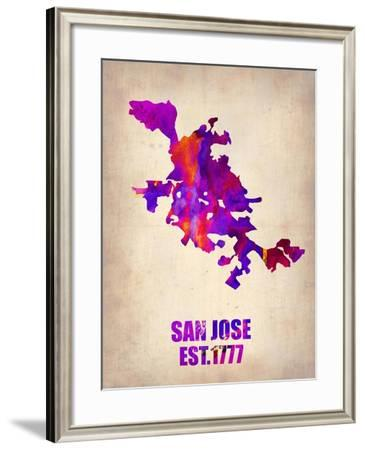 San Jose Watercolor Map-NaxArt-Framed Art Print
