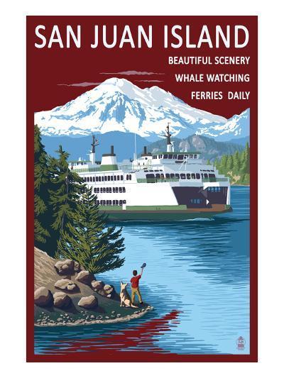 San Juan Island, Washington - Ferry in Passage-Lantern Press-Art Print