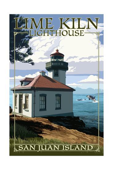 San Juan Island, Washington - Lime Kiln Lighthouse Day Scene-Lantern Press-Art Print