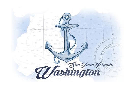 San Juan Islands, Washington - Anchor - Blue - Coastal Icon-Lantern Press-Art Print