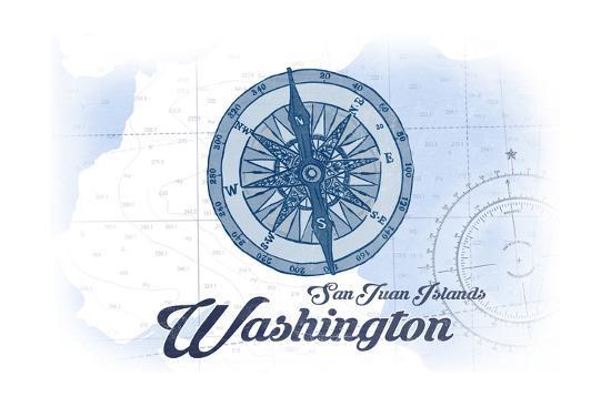 San Juan Islands, Washington - Compass - Blue - Coastal Icon-Lantern Press-Art Print