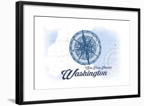 San Juan Islands, Washington - Compass - Blue - Coastal Icon-Lantern Press-Framed Art Print