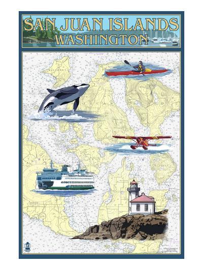San Juan Islands, Washington - Nautical Chart-Lantern Press-Art Print