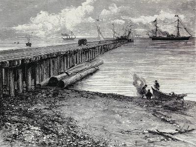 San Leon Mine, Boarding Deck of Ore for Maddalena, Sardinia, Italy, 19th Century--Giclee Print