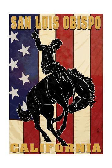 San Luis Obispo, California - Bronco and Star-Lantern Press-Art Print