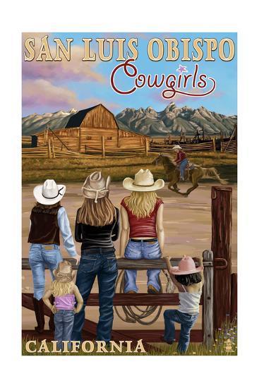 San Luis Obispo, California - Cowgirls-Lantern Press-Art Print