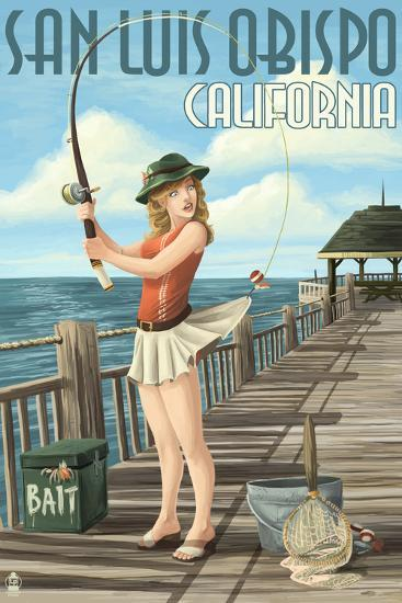 San Luis Obispo, California - Pinup Girl Fishing-Lantern Press-Art Print